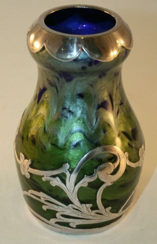 Rare Loetz Titania Silver Overlay Art Glass Vase with Cobalt Blue,  Green,  Silver 8