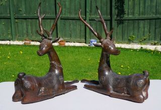 Very Large Fine Pair Antique Bronze Reindeer Qing Dynasty