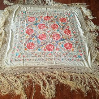 Antique Chinese Piano Shawl Asian Embroidered Floral Phoenix Bedspread Cover