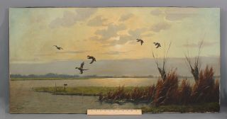 Authentic Van Der Velde Ducks Flying Over Marsh Morning Landscape Oil Painting