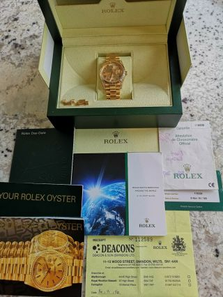 Rolex Day - Date 118338 18ct Gold Box Papers RARE Diamond Shoulders 2