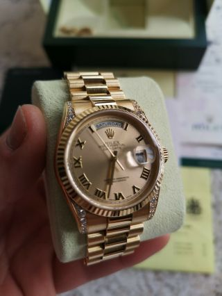 Rolex Day - Date 118338 18ct Gold Box Papers RARE Diamond Shoulders 3