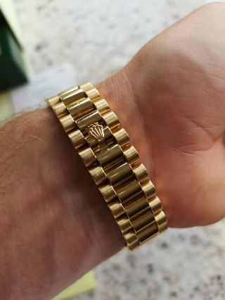 Rolex Day - Date 118338 18ct Gold Box Papers RARE Diamond Shoulders 4