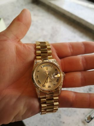 Rolex Day - Date 118338 18ct Gold Box Papers RARE Diamond Shoulders 8