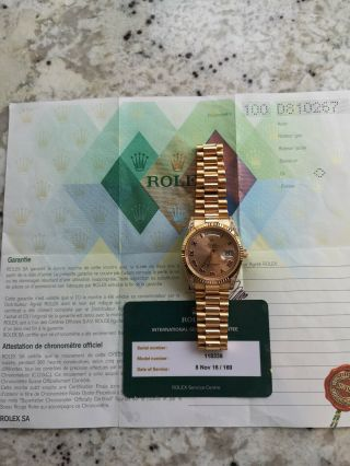 Rolex Day - Date 118338 18ct Gold Box Papers RARE Diamond Shoulders 9