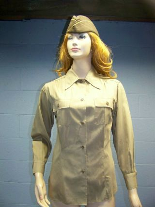 Wwii U.  S.  Army Wac Waac Womans Female Ladys Khaki Shirt