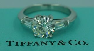 Tiffany & Co 2.  06ct Diamond Engagement Ring Platinum Tapered Baguette Vintage