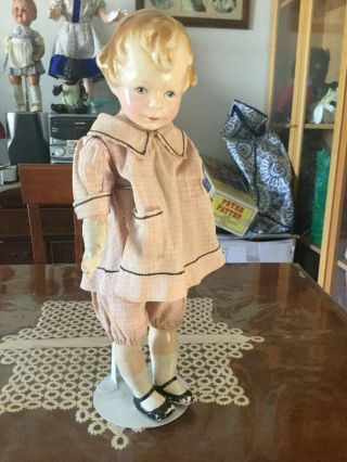 "Antique /vintage "" Mibs "" Composition Doll Cloth Body In Outfit Ca 1921"