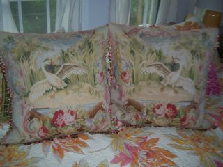 Antique French Country Wool Aubusson Tapestry Swan Pillows,  2 Rooster