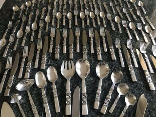 Massive Georg Jensen Scroll Saga Sterling Silver Flatware Set 116 pc set No Mono 2