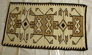 """Antique Navajo Crystal Rug,  68 """" X 38 """" 1910,  Natural Dyes,  Geometric Pattern"""