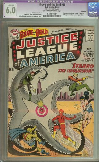 Brave And The Bold 28 Cgc 6.  0 Vintage Dc Key 1st Justice League Of America