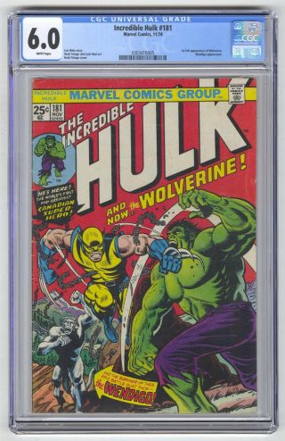 Incredible Hulk 181 Cgc 6.  0 Vintage Marvel Comic Key 1st Wolverine White Pages