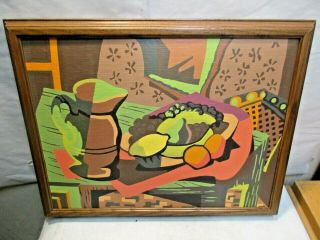 Vintage Abstract Still Life The 1st Craft Master Paint By Number Painting,  Frame