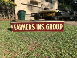 Vintage FARMERS Insurance Double Sided 6ft Porcelain Neon Can Sign 2