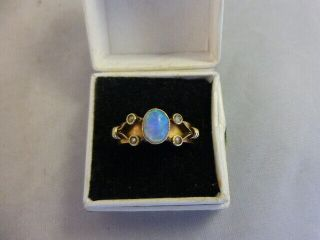 Antique Arts And Crafts 18 Ct Gold And Opal And Seed Pearl Ring 1909 Size