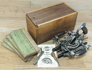 Stanley No 55 Universal Combination Plane W/cutters & Box - Antique Hand Tool