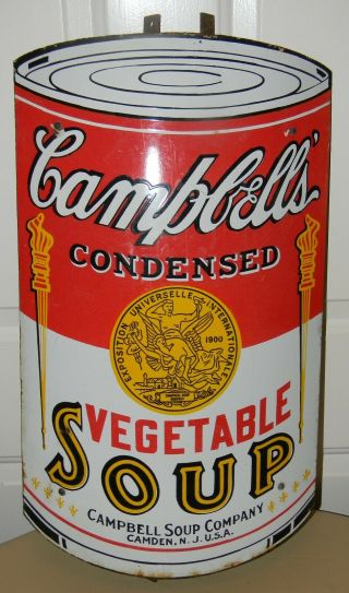 Vintage Porcelain Campbells Vegtable Soup Sign Camden Nj Rare Warhol