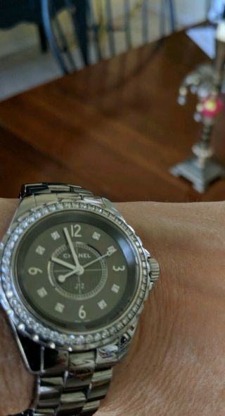 Chanel j 12 watch CHROMATIC CERAMIC with Factory Bezel Diamonds Authentic Rare 2