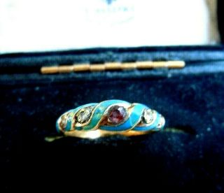 Imper.  Russian 56 Gold Ring With Diamonds In Enamel,  Faberge Design 19th Century