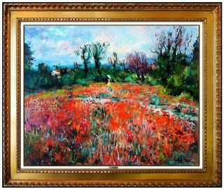 Max Agostini Rare Oil Painting On Canvas Signed Floral Landscape Art
