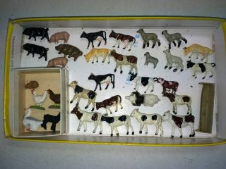 Group Of 30 Ho Vintage 50s/60s Metal Train Layout Animal Figures,  Cows,  Sheep,  Pigs