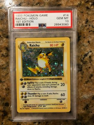 Pokemon Psa 10 Gem 1st Edition Shadowless Raichu Holo Rare Base Set 1999