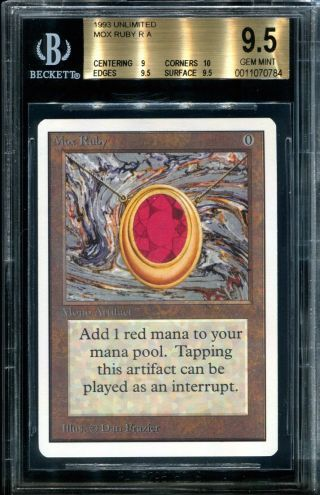 Mox Ruby Unlimited Bgs 9.  5 W 10 Corners Gem Magic The Gathering Mtg