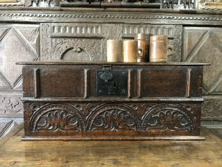 A Rare 17th Century Carved Oak Bible Box.