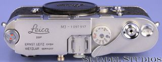 LEICA LEITZ M3 SINGLE STROKE SS CHROME MIDLAND ELC CAMERA BODY,  CAP RARE 3