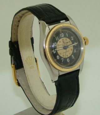 Vintage Rolex Stainless & Gold Oyster Perpetual Bubbleback Watch 5015 C.  1949