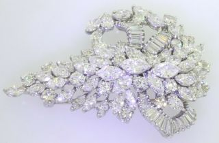 Van Clief vintage 1950s heavy Platinum exquisite 28CTW VS diamond cluster brooch 2
