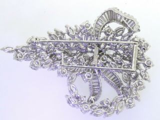 Van Clief vintage 1950s heavy Platinum exquisite 28CTW VS diamond cluster brooch 4