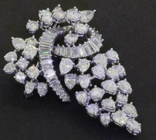 Vintage 1950s Heavy Platinum 11ct Vs/g Diamond Cluster Hinged Multi - Link Brooch