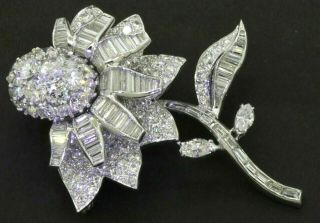 Vintage 1950s Heavy Platinum 12ctw Vs/f Diamond Cluster Flower Brooch