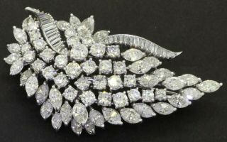 Van Clief Vintage 1950s Heavy Platinum 21.  0ctw Vs - Si Diamond Cluster Brooch