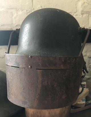 Ultra Rare Ww1 Imperial German Army Face Mask For Helmet.  Krupp