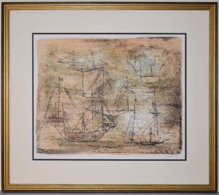 Listed Chinese Artist Zao Wou - Ki,  Color Lithograph,  1952 Signed Rare