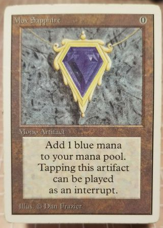 Mox Sapphire Magic The Gathering Unlimited Mono Artifact Some Edge Wear