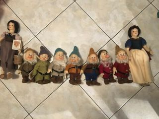 R.  John Wright Dolls Snow White And The Seven Dwarfs Rare