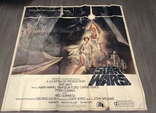 Vintage 1977 Star Wars Six Sheet Europeanmovie Poster 77/77 Hope Iv
