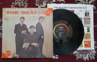 "Beatles Rare 1964 "" Introducing The Beatles "" Blank Back Mono Lp Version One"