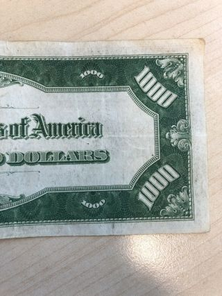 RARE 1934 $1000 One Thousand Dollar Bill Federal Reserve Note Low serial 11