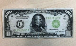 Rare 1934 $1000 One Thousand Dollar Bill Federal Reserve Note Low Serial