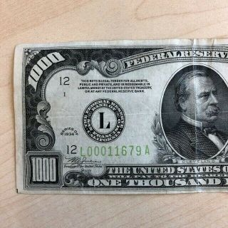 RARE 1934 $1000 One Thousand Dollar Bill Federal Reserve Note Low serial 2
