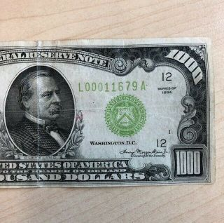 RARE 1934 $1000 One Thousand Dollar Bill Federal Reserve Note Low serial 3
