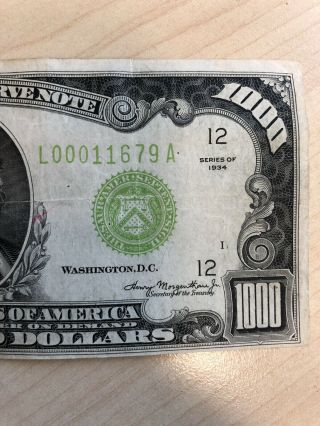 RARE 1934 $1000 One Thousand Dollar Bill Federal Reserve Note Low serial 7