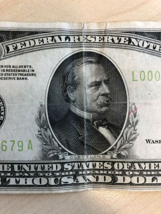 RARE 1934 $1000 One Thousand Dollar Bill Federal Reserve Note Low serial 8
