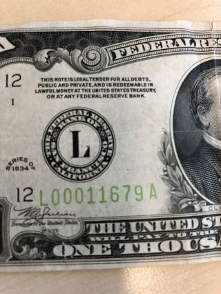 RARE 1934 $1000 One Thousand Dollar Bill Federal Reserve Note Low serial 9