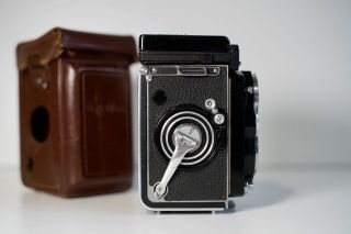 Rare Rolleiflex 3.  5 F White Face 12/24 With Meter,  Caps,  Case
